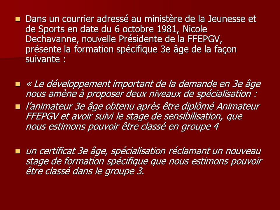 Dans un courrier adressé au ministère de la Jeunesse et de Sports en date du 6 octobre 1981, Nicole Dechavanne, nouvelle Présidente de la FFEPGV, prés