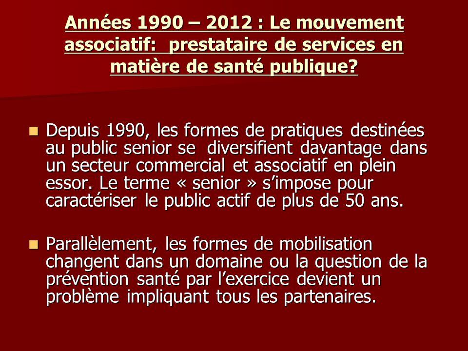 Années 1990 – 2012 : Le mouvement associatif: prestataire de services en matière de santé publique? Depuis 1990, les formes de pratiques destinées au