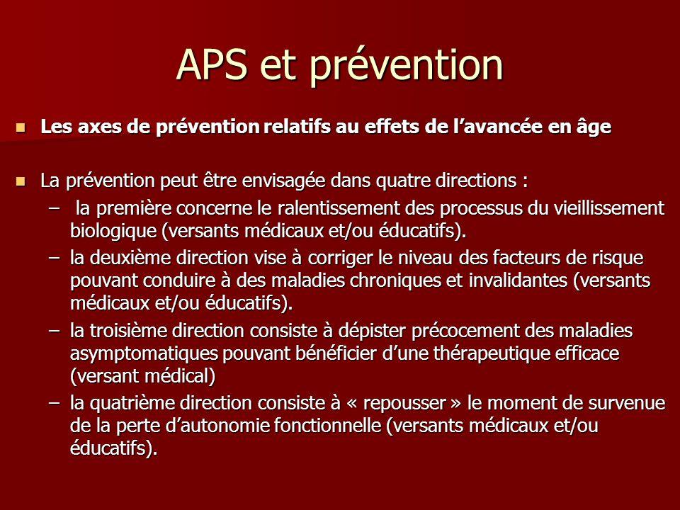 APS et prévention Les axes de prévention relatifs au effets de lavancée en âge Les axes de prévention relatifs au effets de lavancée en âge La prévent