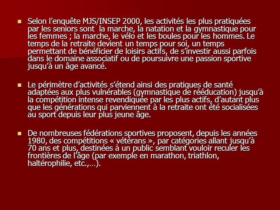 Selon lenquête MJS/INSEP 2000, les activités les plus pratiquées par les seniors sont la marche, la natation et la gymnastique pour les femmes ; la ma