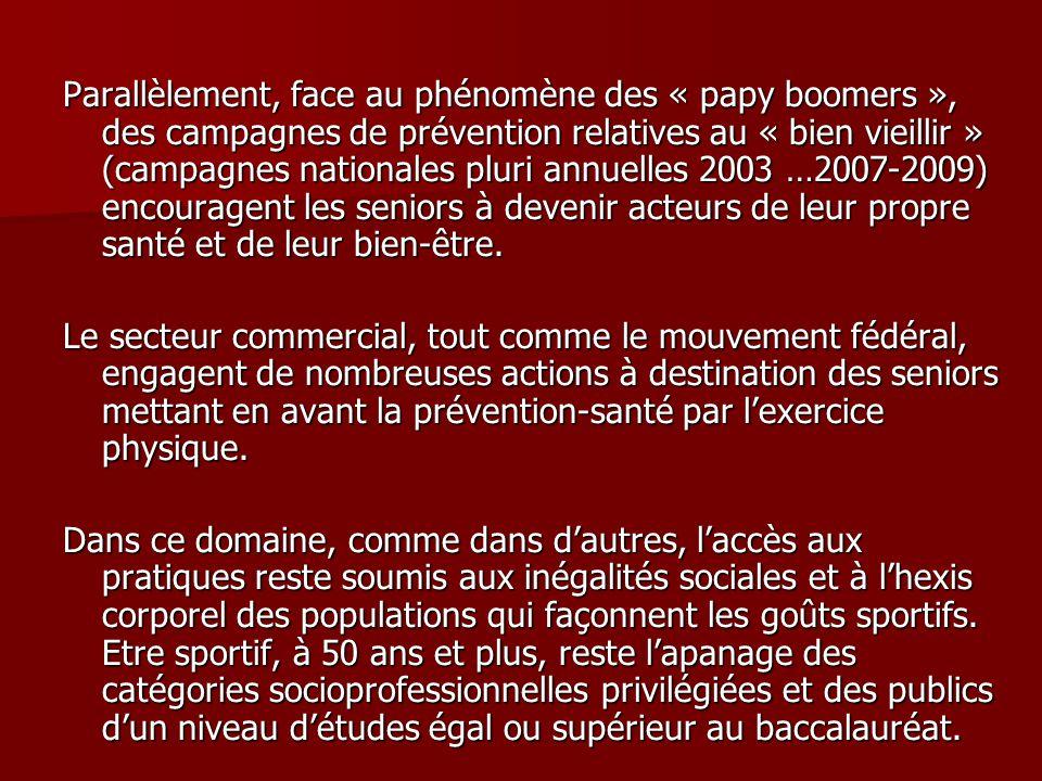 Parallèlement, face au phénomène des « papy boomers », des campagnes de prévention relatives au « bien vieillir » (campagnes nationales pluri annuelle