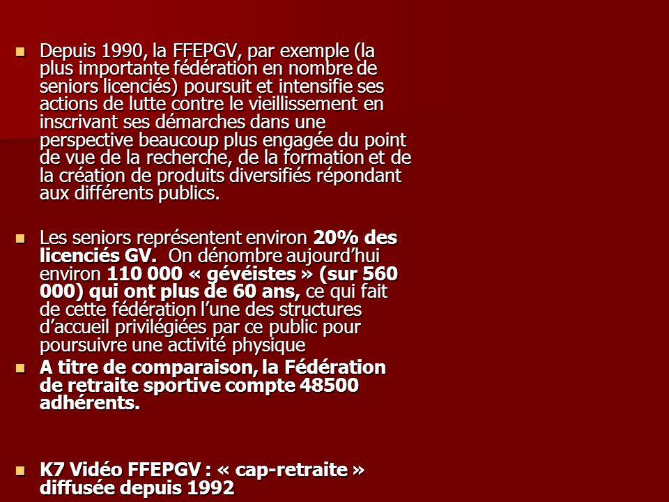 Depuis 1990, la FFEPGV, par exemple (la plus importante fédération en nombre de seniors licenciés) poursuit et intensifie ses actions de lutte contre