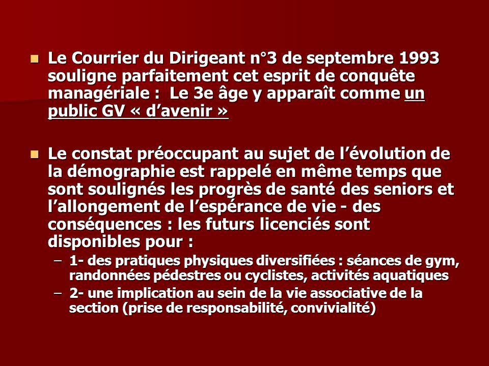 Le Courrier du Dirigeant n°3 de septembre 1993 souligne parfaitement cet esprit de conquête managériale : Le 3e âge y apparaît comme un public GV « da
