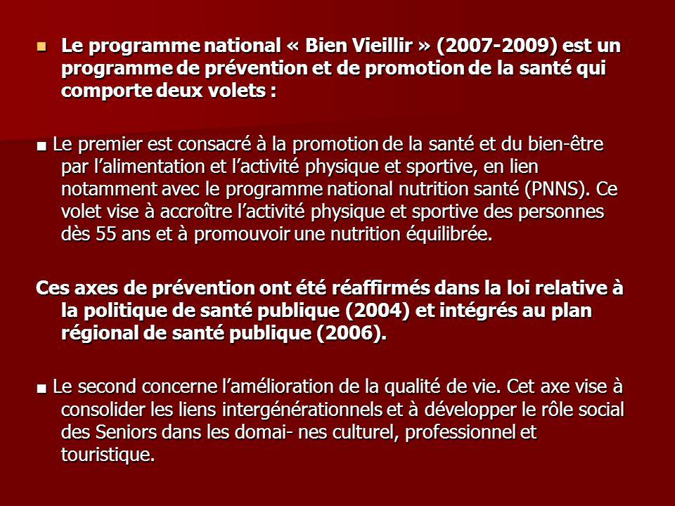 Le programme national « Bien Vieillir » (2007-2009) est un programme de prévention et de promotion de la santé qui comporte deux volets : Le programme