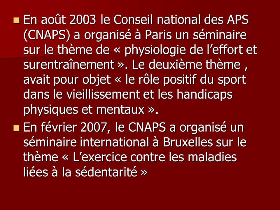 En août 2003 le Conseil national des APS (CNAPS) a organisé à Paris un séminaire sur le thème de « physiologie de leffort et surentraînement ». Le deu