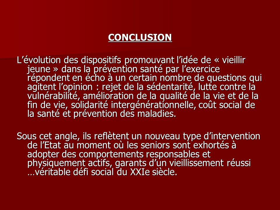 CONCLUSION Lévolution des dispositifs promouvant lidée de « vieillir jeune » dans la prévention santé par lexercice répondent en écho à un certain nom