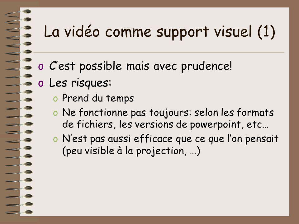 La vidéo comme support visuel (1) oCest possible mais avec prudence! oLes risques: oPrend du temps oNe fonctionne pas toujours: selon les formats de f
