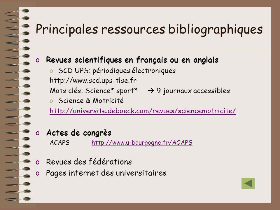 Principales ressources bibliographiques oRevues scientifiques en français ou en anglais oSCD UPS: périodiques électroniques http://www.scd.ups-tlse.fr