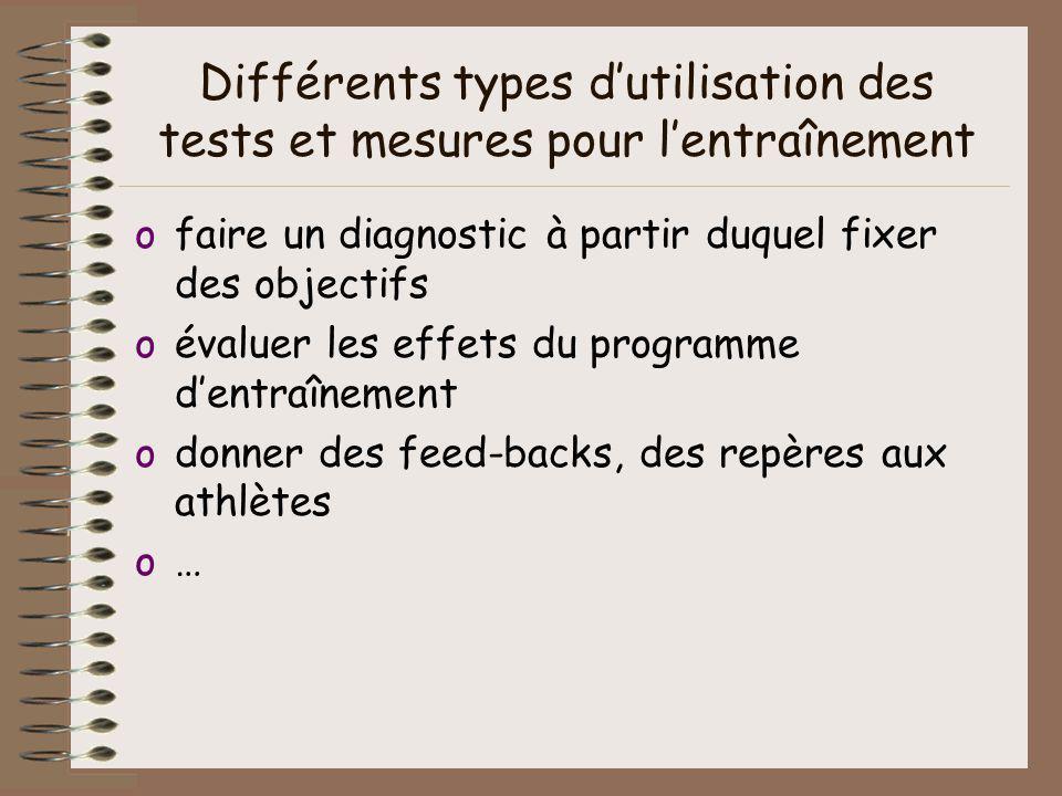 Différents types dutilisation des tests et mesures pour lentraînement ofaire un diagnostic à partir duquel fixer des objectifs oévaluer les effets du