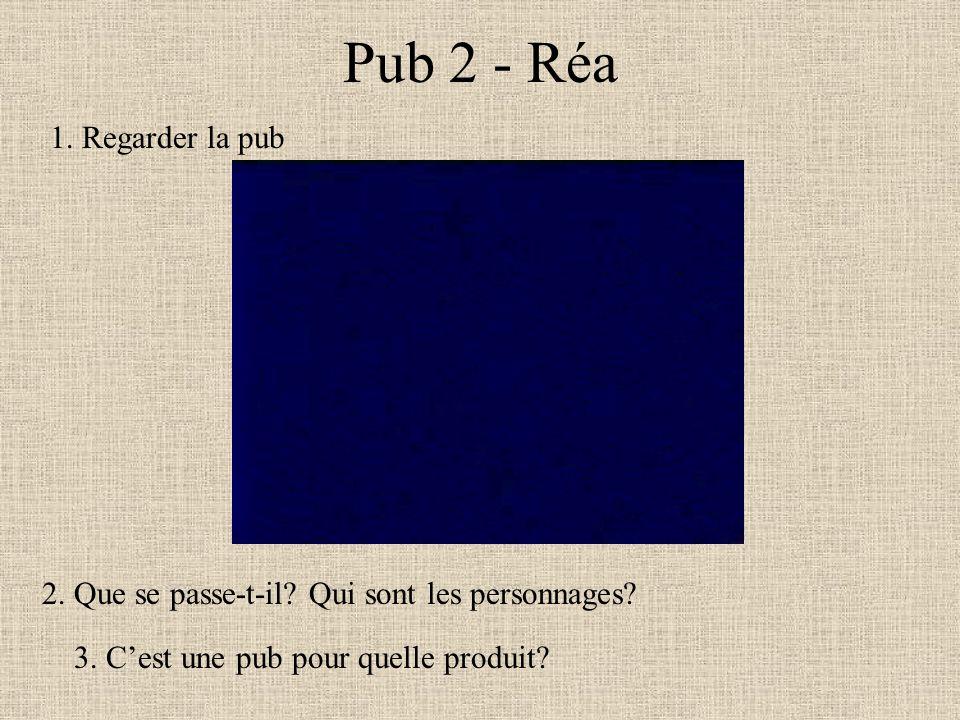 Pub 2 - Réa 1. Regarder la pub 2. Que se passe-t-il? Qui sont les personnages? 3. Cest une pub pour quelle produit?