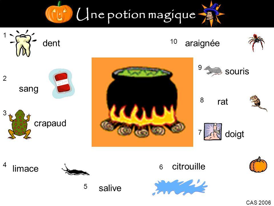 Une potion magique 1 dent 2 sang 3 crapaud 4 limace 5 salive citrouille 6 CAS 2006 7 doigt 8 rat 9 souris 10 araignée