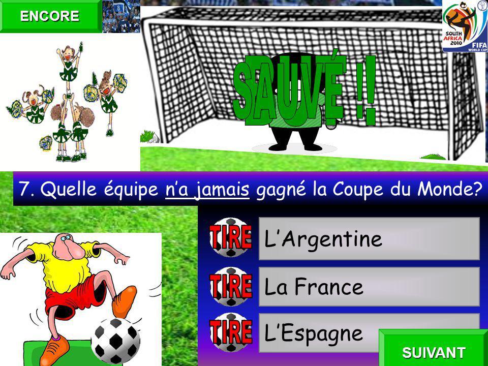 lUruguay lArgentine lAllemagne 6. La première Coupe du Monde a été gagné par… ENCORE SUIVANT
