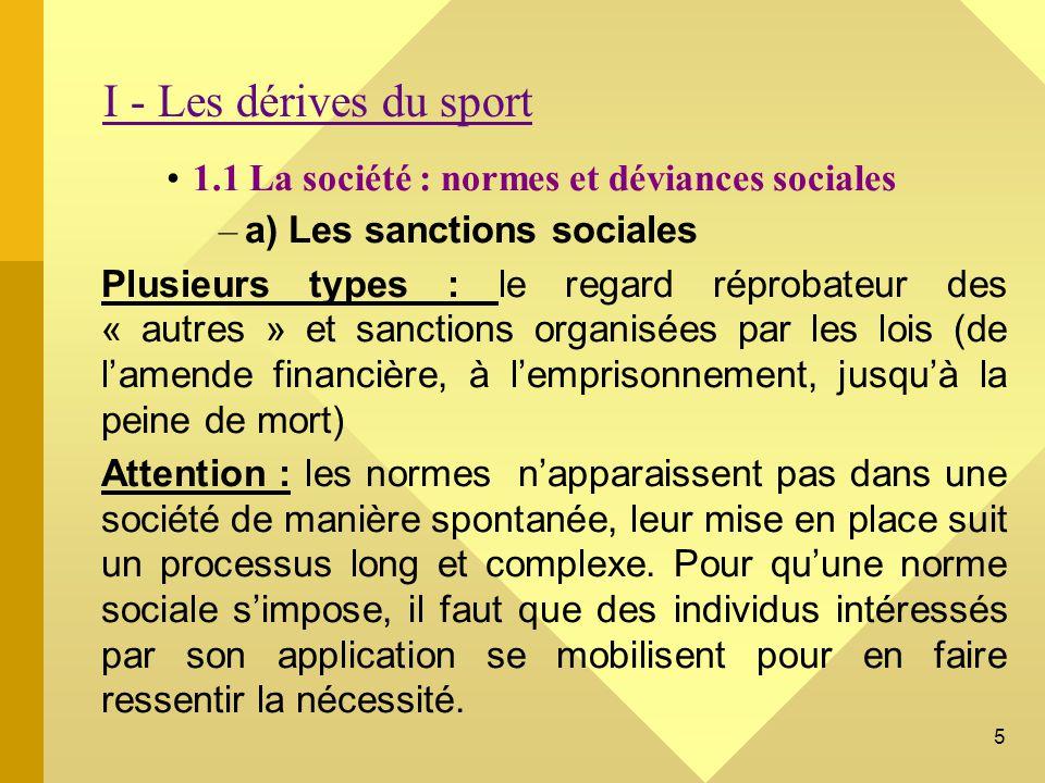 16 CONCLUSION DU CHAPITRE III Lobjet « sport » est un analyseur relativement pertinent du fonctionnement social.