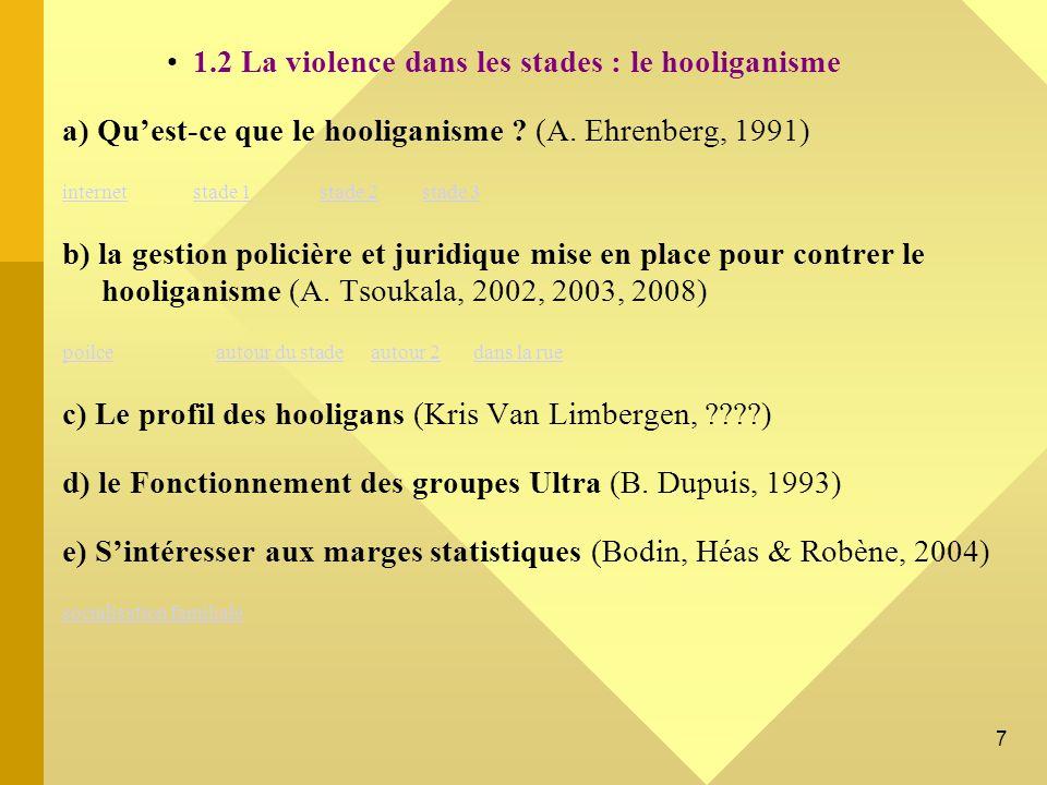 18 Liens internet Retour Retour http://www.dailymotion.com/video/x3wtna_hooligans-psg-reportage-m6-rip-juli_sport Extrait d un reportage 66 minutes sur la gestion policière des hooligans http://www.wat.tv/video/hooligans-honte-football-yj89_kkvu_.html Extrait d un affrontement Hooligans hors stade, hors temps sur les bords de la Loire