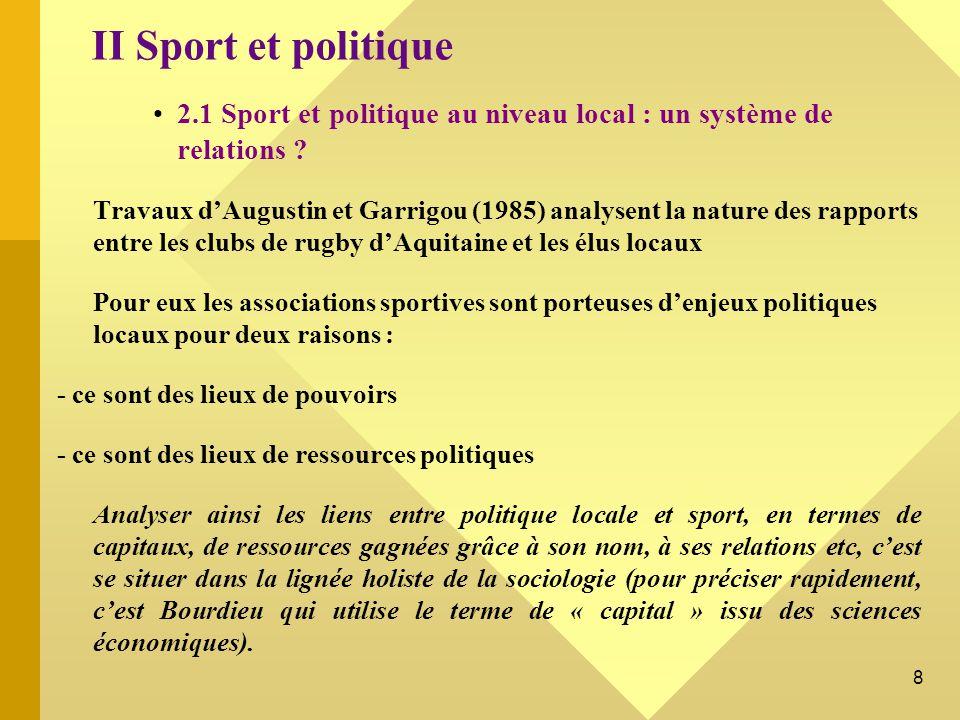 9 2.2 Le système de relations entre champ politique et champ sportif : Sport, politique et religion au Liban (F.