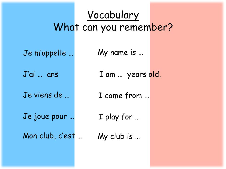 Vocabulary What can you remember? Je mappelle … My name is … I am … years old.Jai … ans Je viens de … I come from … Je joue pour … I play for … Mon cl