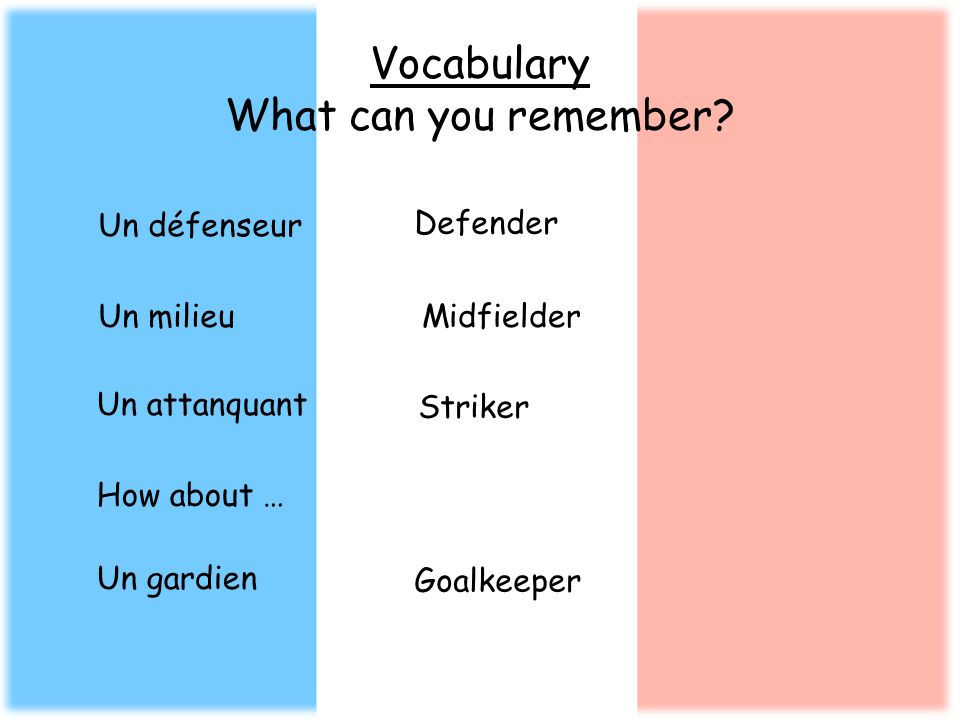 Vocabulary What can you remember? Un défenseur Defender Un milieuMidfielder Un attanquant Striker How about … Un gardien Goalkeeper