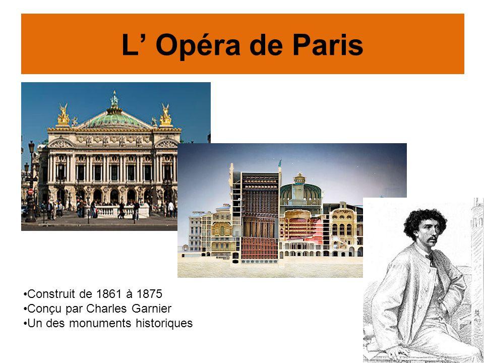 L Opéra de Paris Construit de 1861 à 1875 Conçu par Charles Garnier Un des monuments historiques