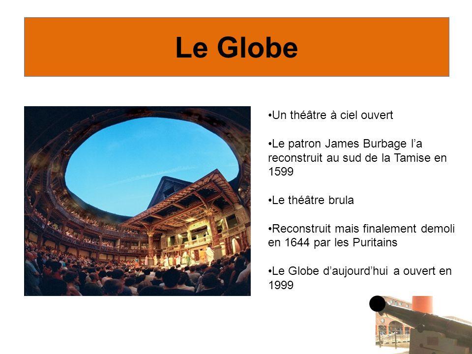 Un théâtre à ciel ouvert Le patron James Burbage la reconstruit au sud de la Tamise en 1599 Le théâtre brula Reconstruit mais finalement demoli en 1644 par les Puritains Le Globe daujourdhui a ouvert en 1999