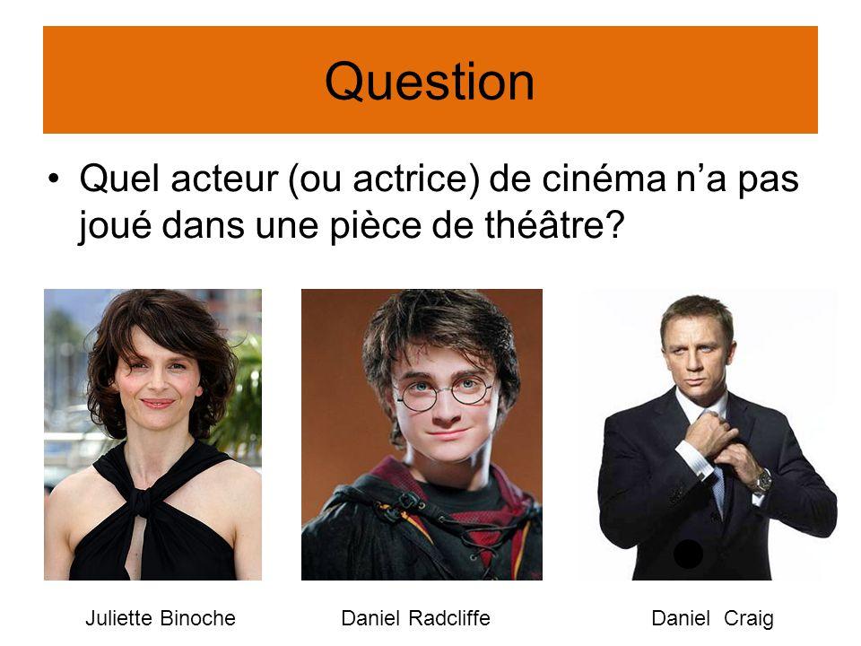 Question Quel acteur (ou actrice) de cinéma na pas joué dans une pièce de théâtre? Juliette BinocheDaniel RadcliffeDaniel Craig