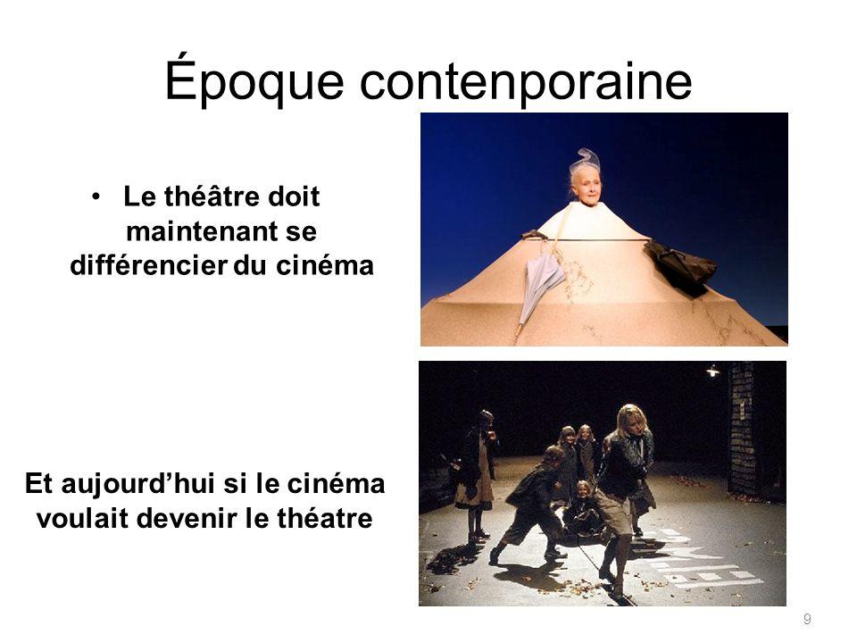 Époque contenporaine Le théâtre doit maintenant se différencier du cinéma Et aujourdhui si le cinéma voulait devenir le théatre 9