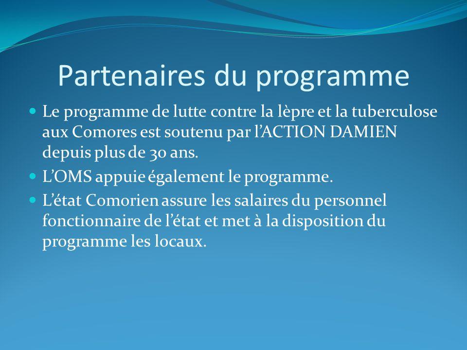 Partenaires du programme Le programme de lutte contre la lèpre et la tuberculose aux Comores est soutenu par lACTION DAMIEN depuis plus de 30 ans. LOM