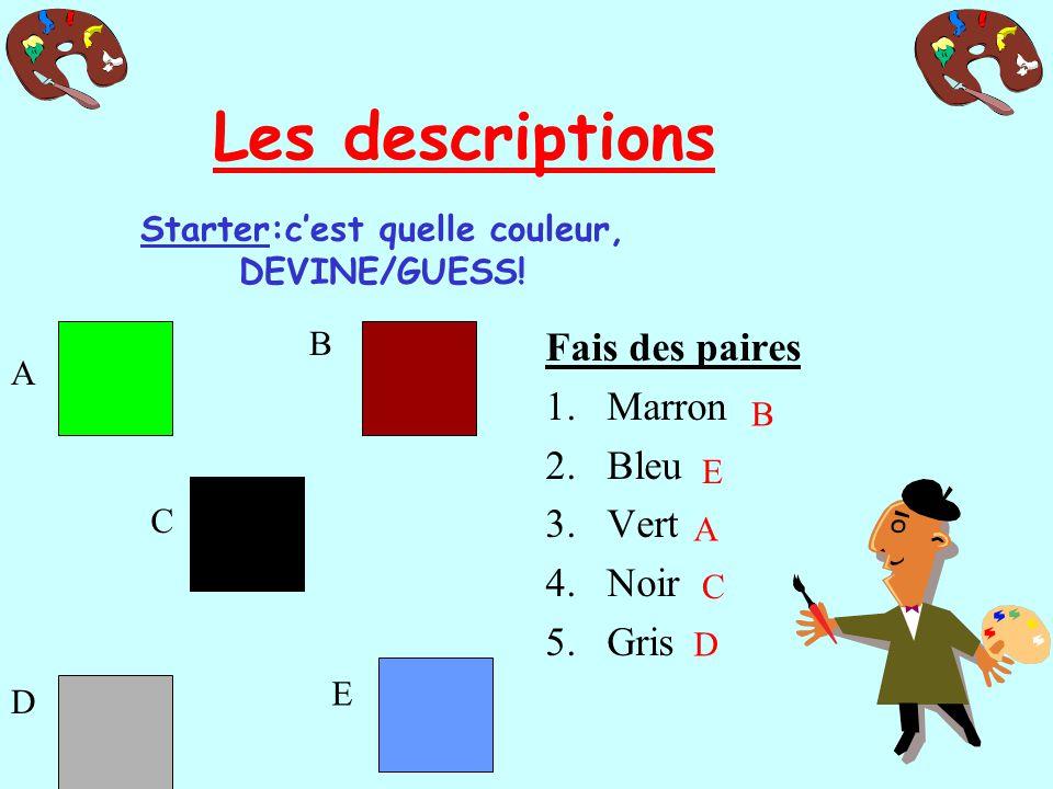 Starter:cest quelle couleur, DEVINE/GUESS.
