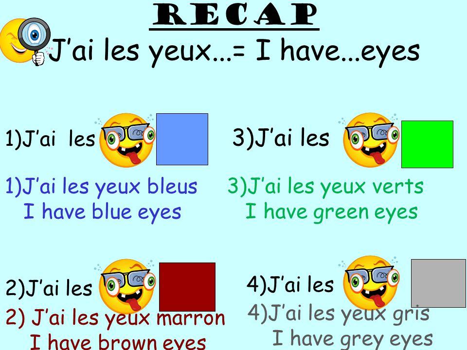 RECAP Jai les yeux...= I have...eyes 1)Jai les 3)Jai les 1)Jai les yeux bleus I have blue eyes 3)Jai les yeux verts I have green eyes 2)Jai les 2) Jai les yeux marron I have brown eyes 4)Jai les 4)Jai les yeux gris I have grey eyes