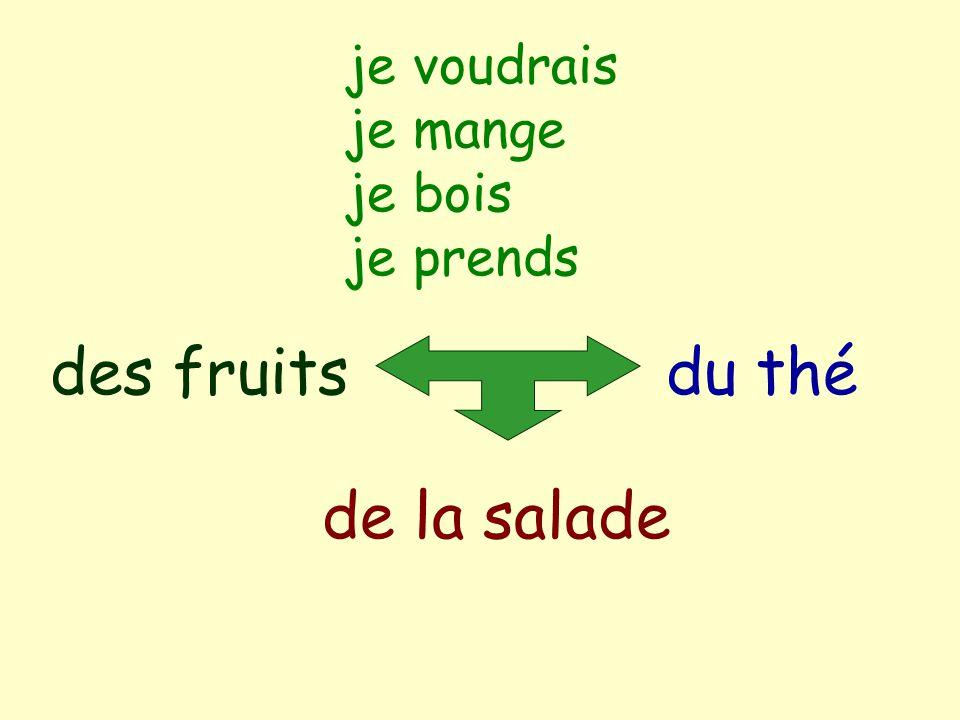 je voudrais je mange je bois je prends du thé de la salade des fruits