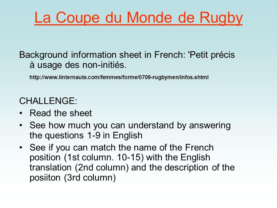 Le rugby – trouvez les paires 1.lentraîneur(a)second row 2.les joueurs(b)half time 3.le remplaçant(c)extra time 4.deuxième ligne(d)conversion 5.une mêlée(e)red card 6.demi de mêlée(f) scrum 7.carton rouge(g) scrum half 8.la mi-temps(h) players 9.les prolongations(i) trainer/coach 10.un essai(j) substitute 11.une transformation(k)gum shield 12.une passe avant(l)touch judge 13.la ligne de touche(m)forward pass 14.le protège-dents(n)try