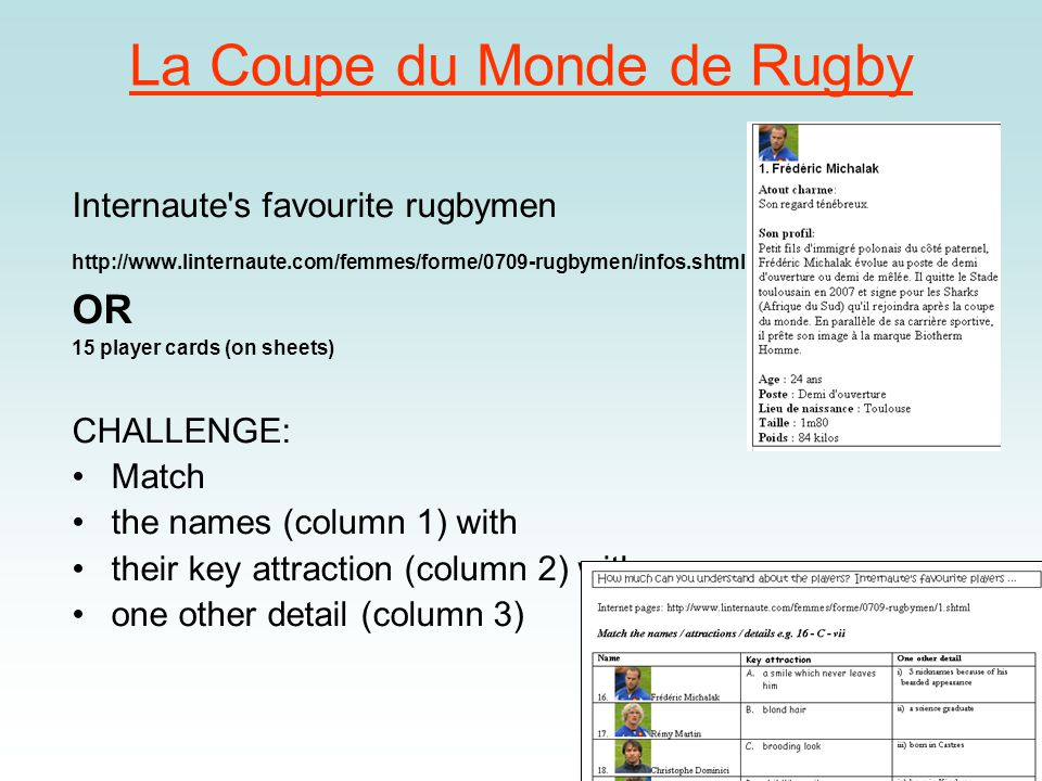 La Coupe du Monde de Rugby Internaute s favourite rugbymen http://www.linternaute.com/femmes/forme/0709-rugbymen/infos.shtml OR 15 player cards (on sheets) CHALLENGE: Match the names (column 1) with their key attraction (column 2) with one other detail (column 3)