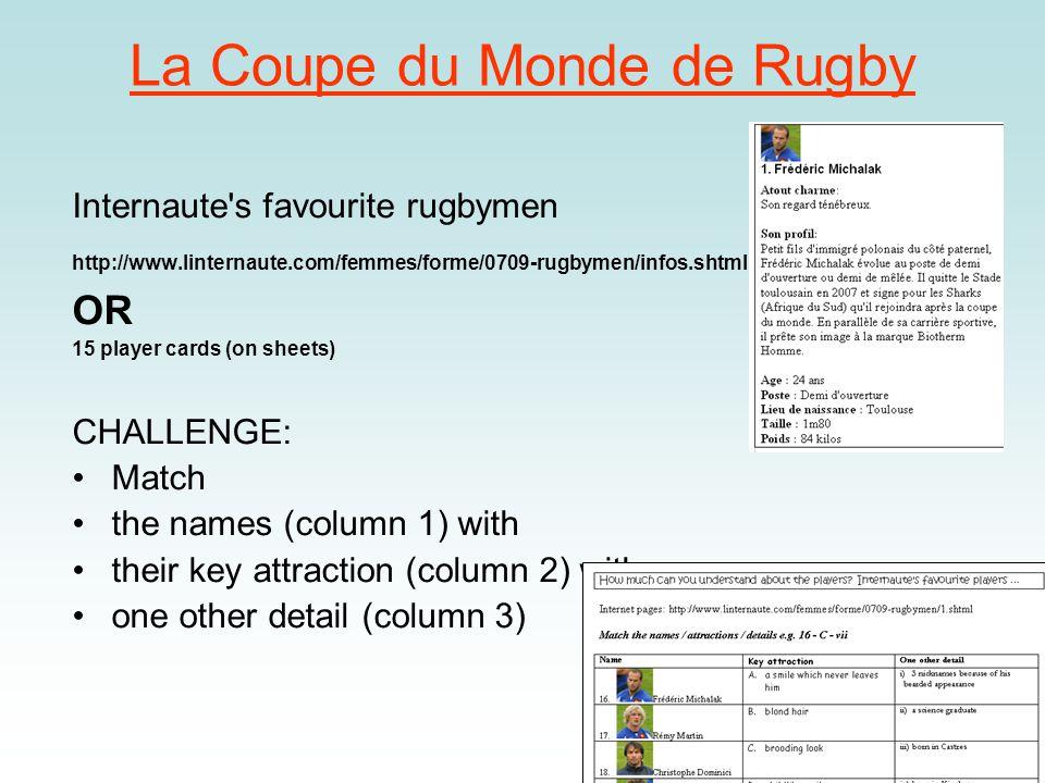 Le rugby – trouvez les paires 1.lentraîneur (i) trainer/coach 2.les joueurs (h) players 3.le remplaçant (j) substitute 4.deuxième ligne (a)second row 5.une mêlée (f) scrum 6.demi de mêlée (g) scrum half 7.carton rouge (e)red card 8.la mi-temps (b)half time 9.les prolongations (c)extra time 10.un essai (n)try 11.une transformation (d)conversion 12.une passe avant (m)forward pass 13.la ligne de touche (l)touch judge 14.le protège-dents (k)gum shield