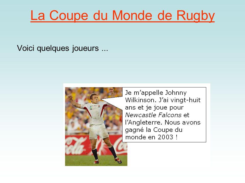 La Coupe du Monde de Rugby Voici quelques joueurs...