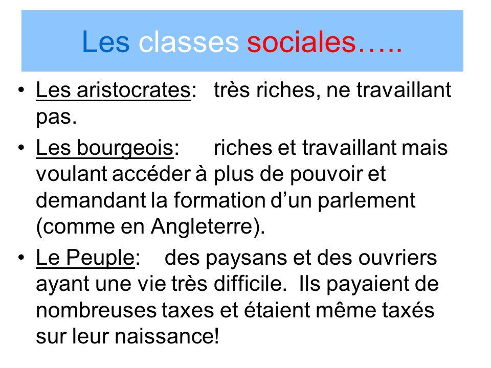 Les classes sociales….. Les aristocrates: très riches, ne travaillant pas. Les bourgeois:riches et travaillant mais voulant accéder à plus de pouvoir