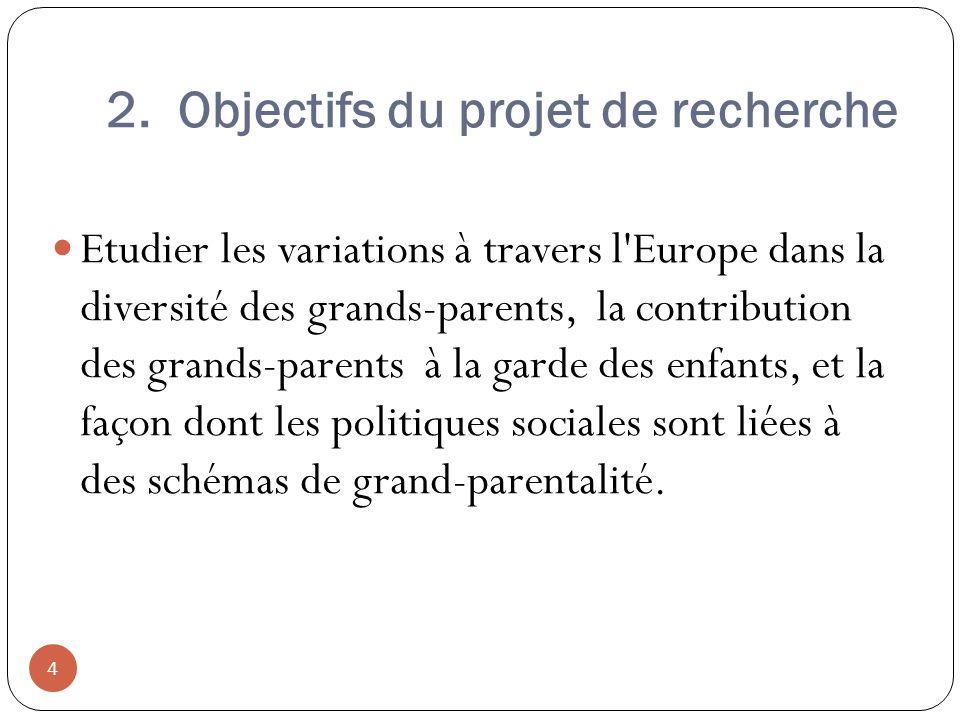 2. Objectifs du projet de recherche Etudier les variations à travers l'Europe dans la diversité des grands-parents, la contribution des grands-parents