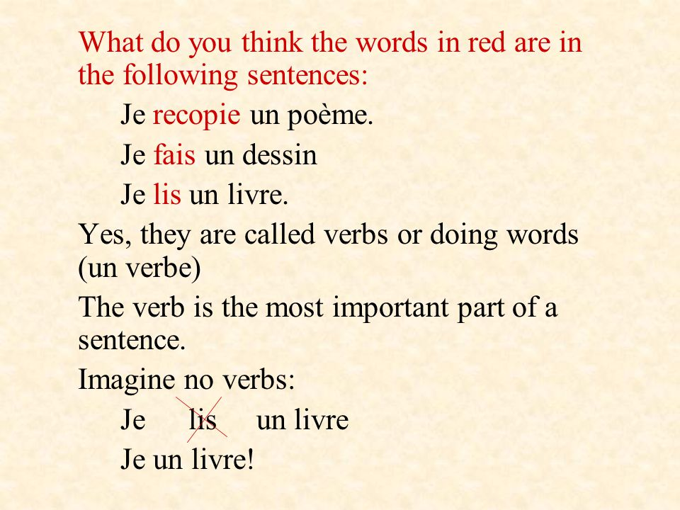 In French we have 3 different groups of verbs, verbs belong to a group depending on their endings in the infinitive.