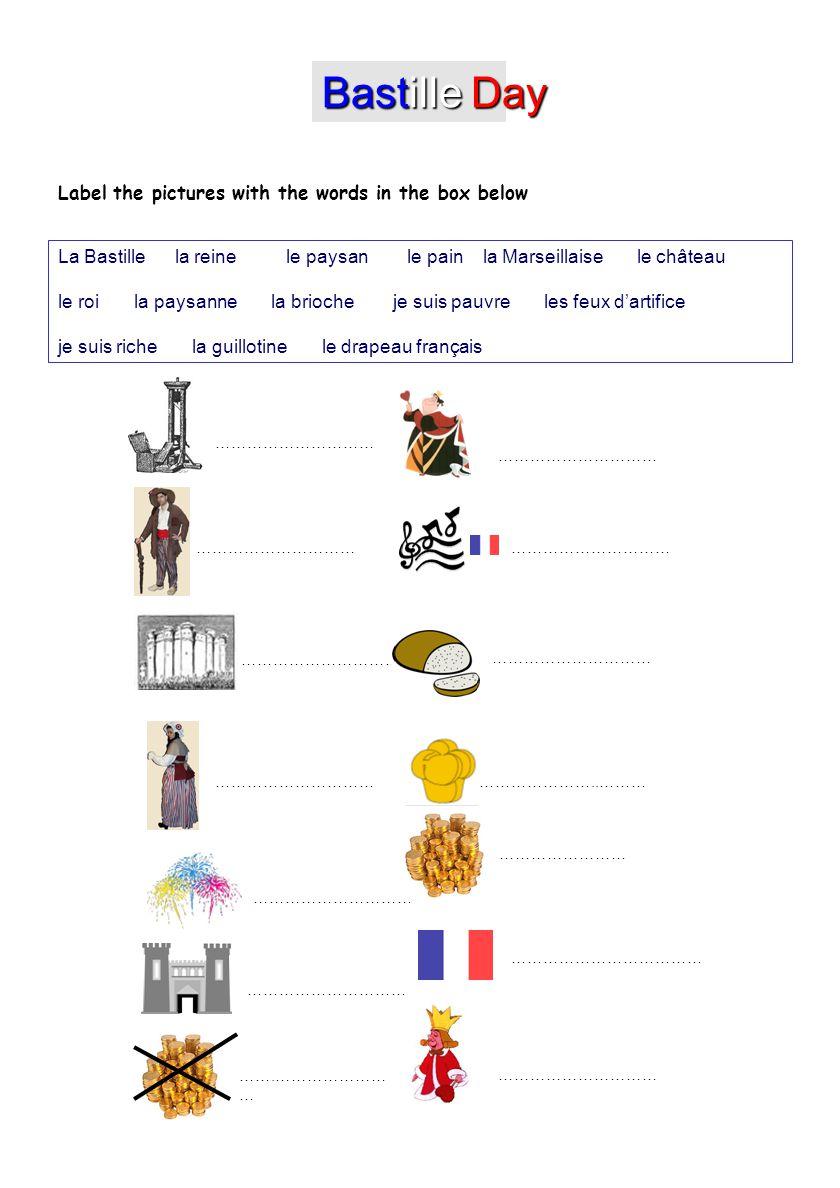 ………………………… …………………… …….………………… … ………………………… ……………………………… ………………………… …………………..……… ………………………… Bastille Day La Bastille la reine le paysan le pain la Mar