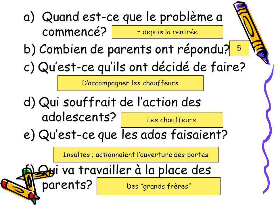 a)Quand est-ce que le problème a commencé? b) Combien de parents ont répondu? c) Quest-ce quils ont décidé de faire? d) Qui souffrait de laction des a