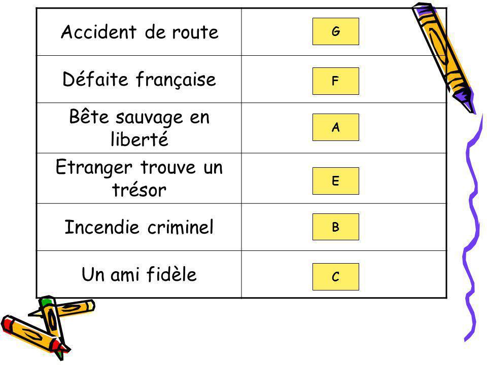 Accident de route Défaite française Bête sauvage en liberté Etranger trouve un trésor Incendie criminel Un ami fidèle G F A E B C