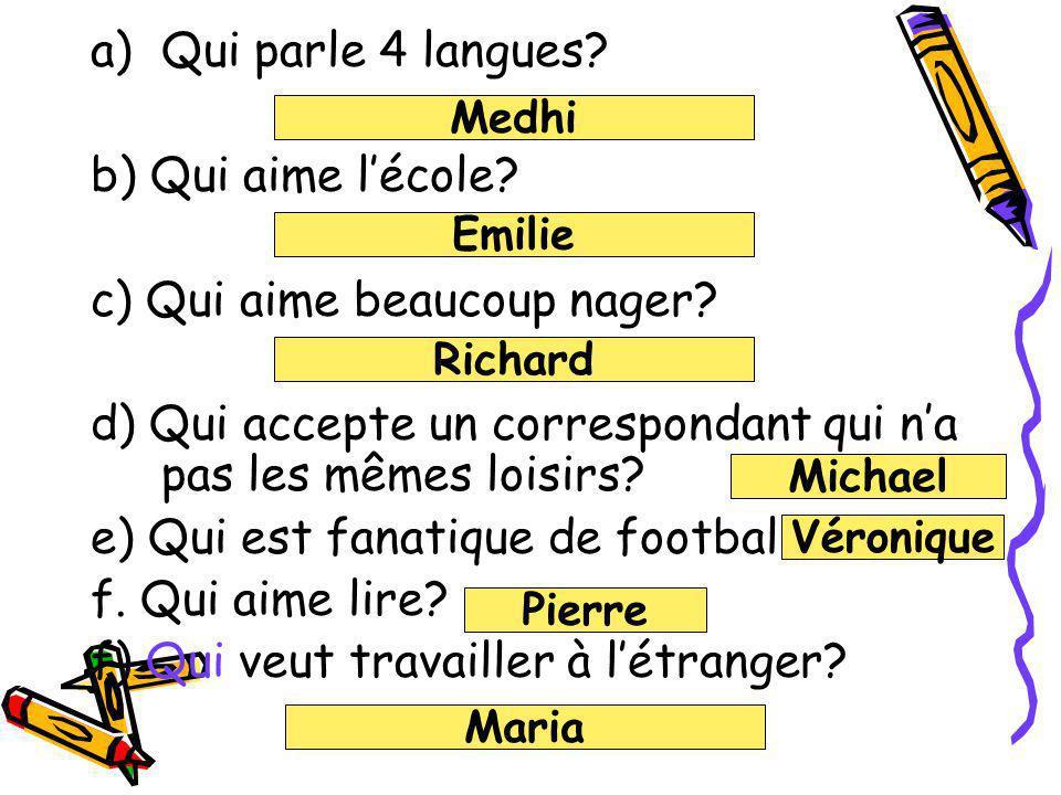 Reading Comprehension Question words Quand : Combien: Quest-ce que: Qui :
