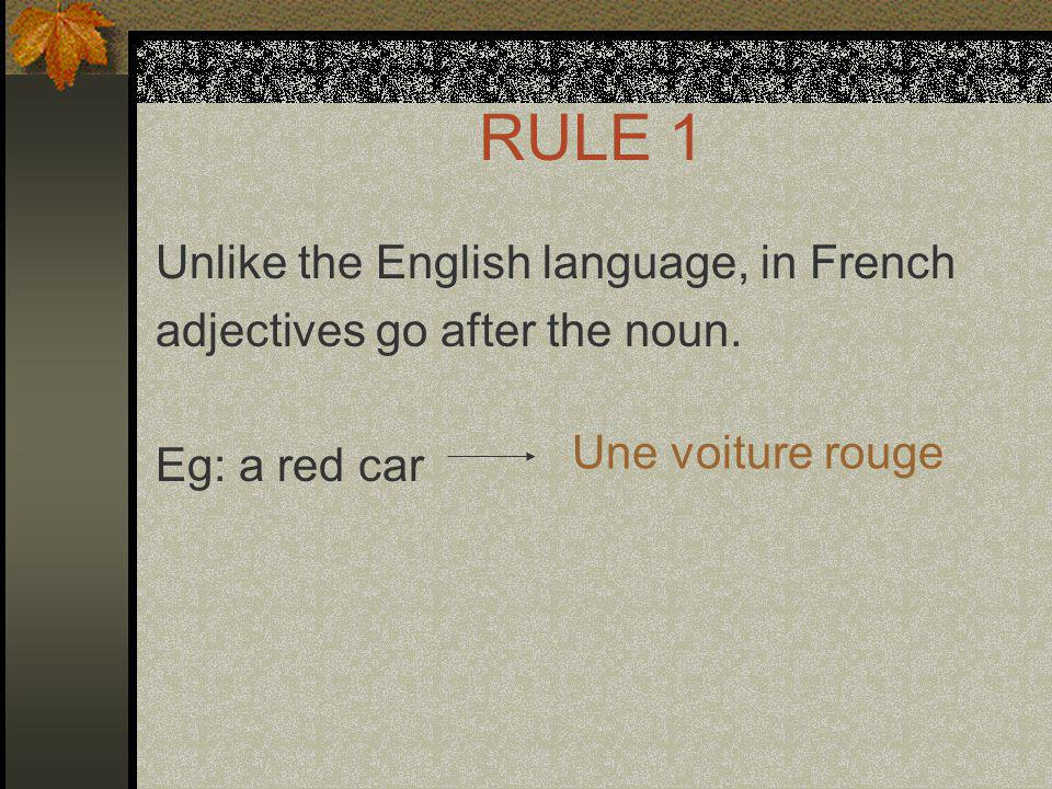 RULE 1 Unlike the English language, in French adjectives go after the noun.