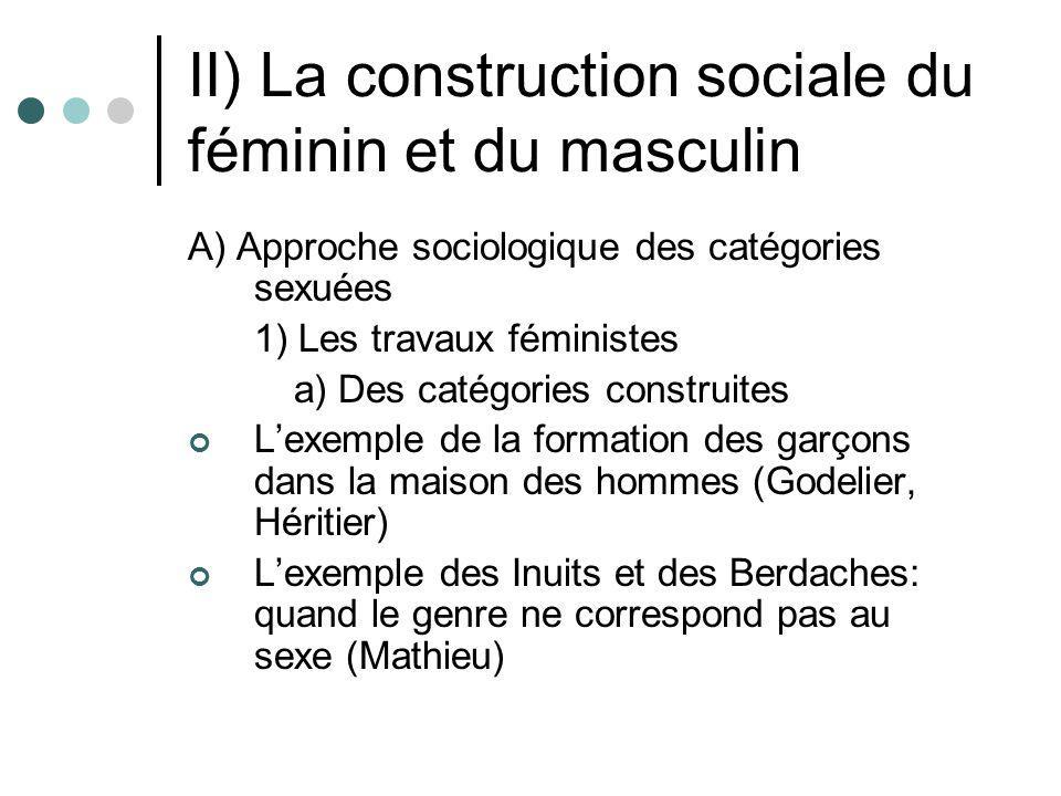 II) La construction sociale du féminin et du masculin A) Approche sociologique des catégories sexuées 1) Les travaux féministes a) Des catégories cons