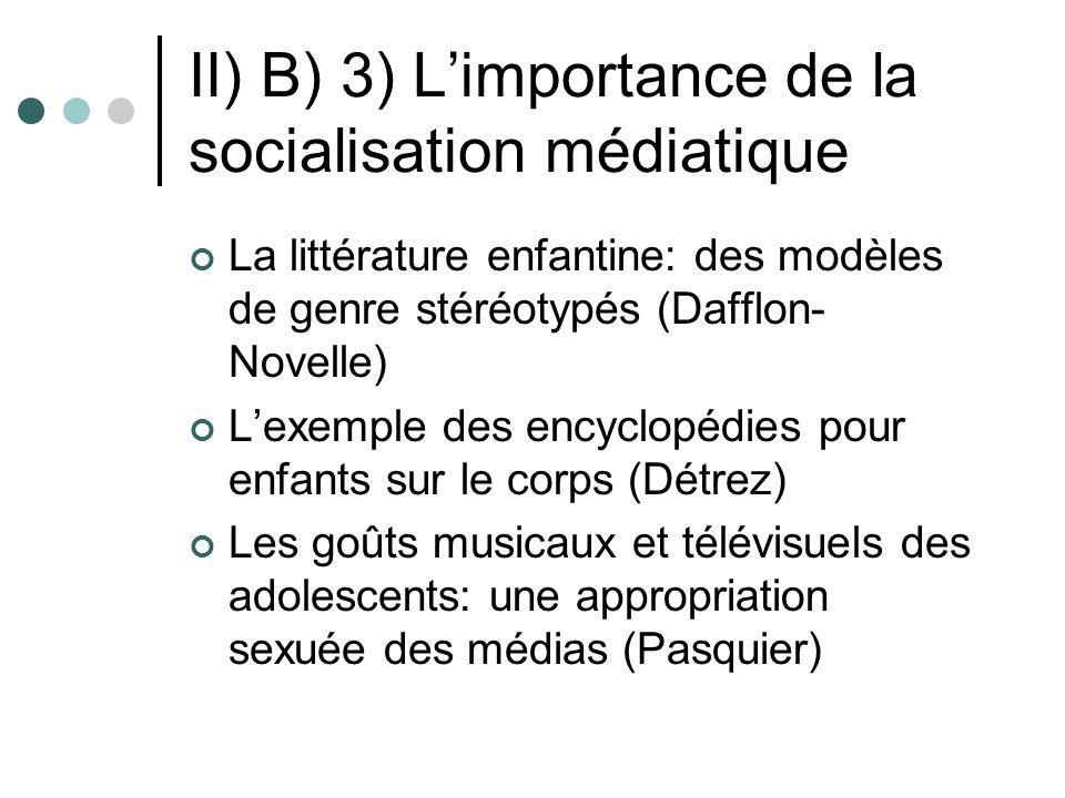 II) B) 3) Limportance de la socialisation médiatique La littérature enfantine: des modèles de genre stéréotypés (Dafflon- Novelle) Lexemple des encycl