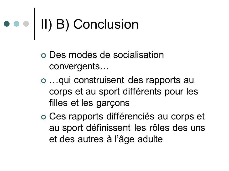 II) B) Conclusion Des modes de socialisation convergents… …qui construisent des rapports au corps et au sport différents pour les filles et les garçon