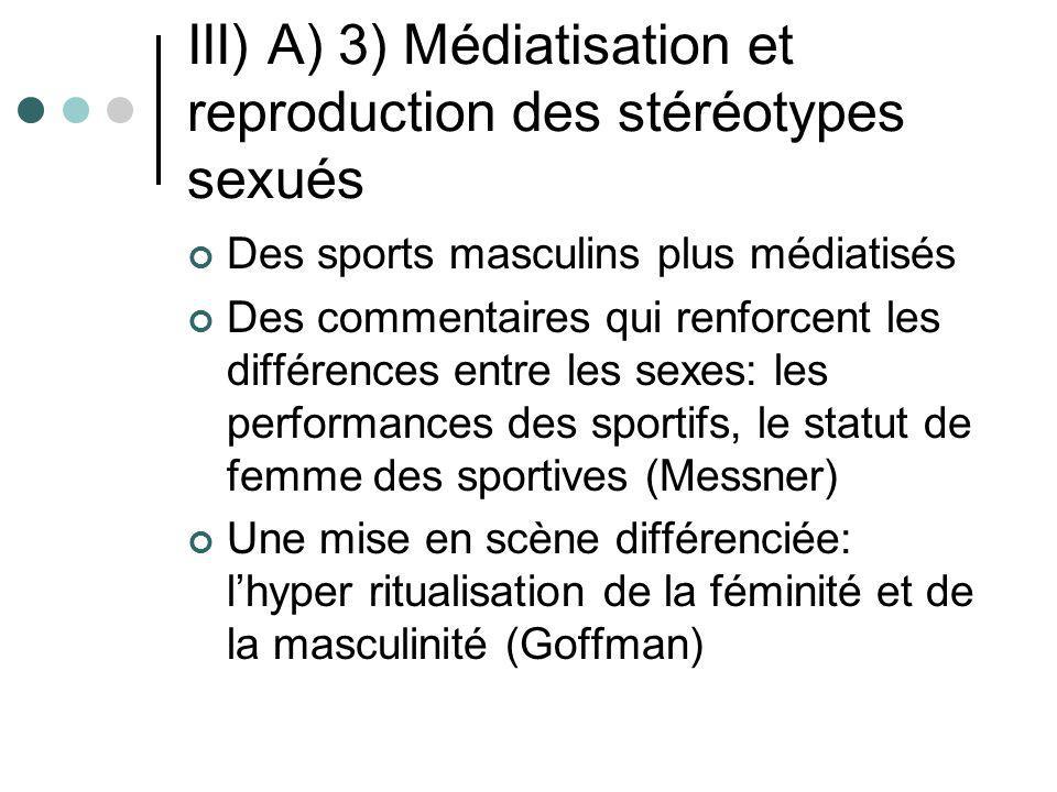 III) A) 3) Médiatisation et reproduction des stéréotypes sexués Des sports masculins plus médiatisés Des commentaires qui renforcent les différences e