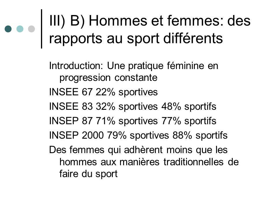 III) B) Hommes et femmes: des rapports au sport différents Introduction: Une pratique féminine en progression constante INSEE 67 22% sportives INSEE 8