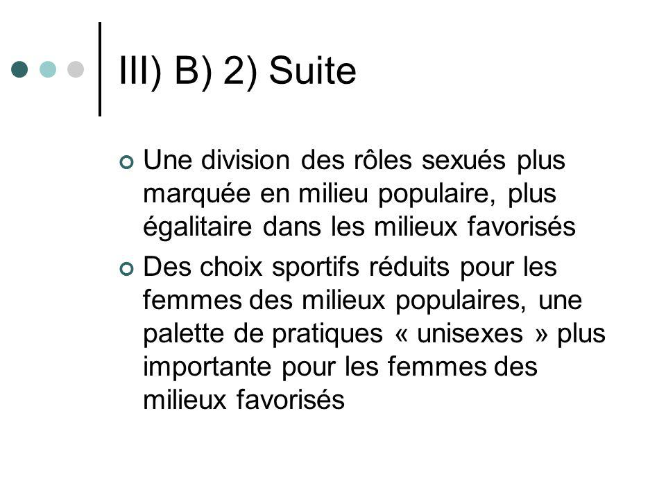 III) B) 2) Suite Une division des rôles sexués plus marquée en milieu populaire, plus égalitaire dans les milieux favorisés Des choix sportifs réduits