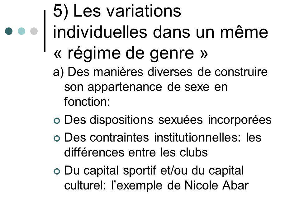 5) Les variations individuelles dans un même « régime de genre » a) Des manières diverses de construire son appartenance de sexe en fonction: Des disp
