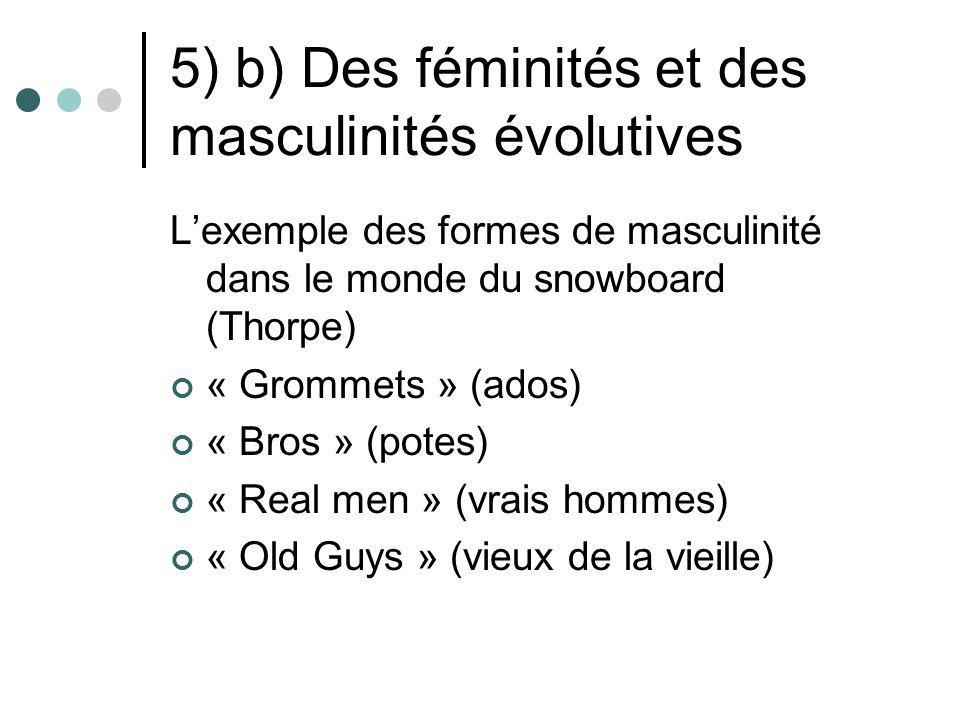 5) b) Des féminités et des masculinités évolutives Lexemple des formes de masculinité dans le monde du snowboard (Thorpe) « Grommets » (ados) « Bros »