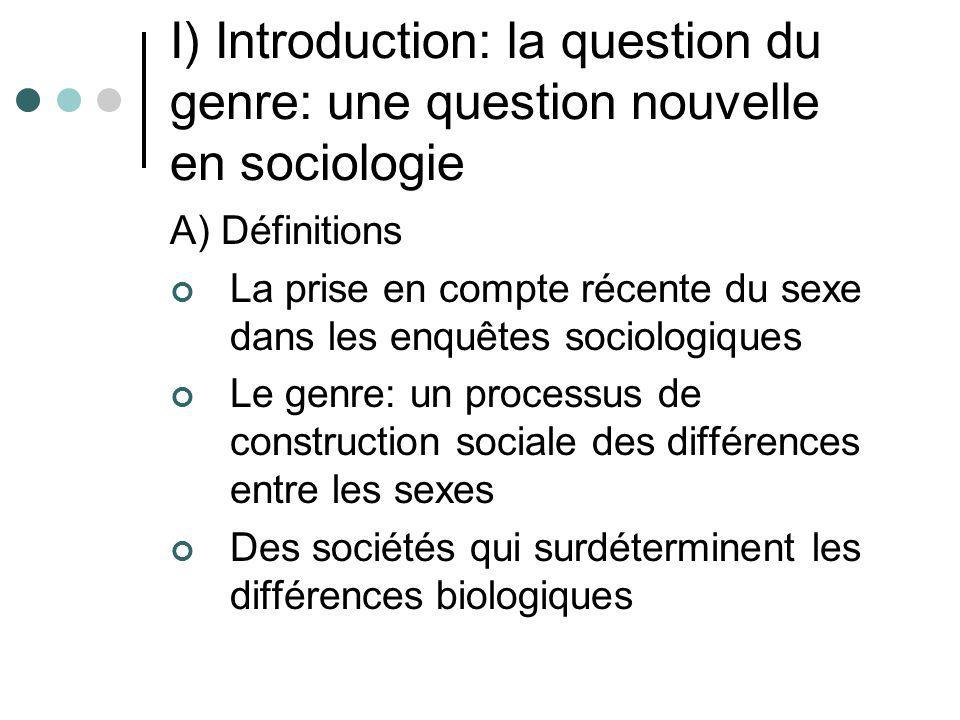 I) Introduction: la question du genre: une question nouvelle en sociologie A) Définitions La prise en compte récente du sexe dans les enquêtes sociolo